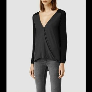 All Saints Bow Top in black and gray